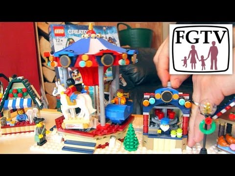 LEGO Winter Village Market (10235) Review – Unboxing, Minifigs, Merry-Go-Round - YouTube thumbnail
