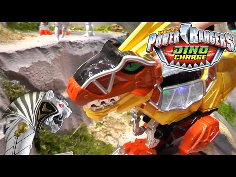 Power Rangers Dino Charge Toys: Rumble and Roar T-Rex Zord, White Ranger Legacy Saba & TigerZord - YouTube thumbnail