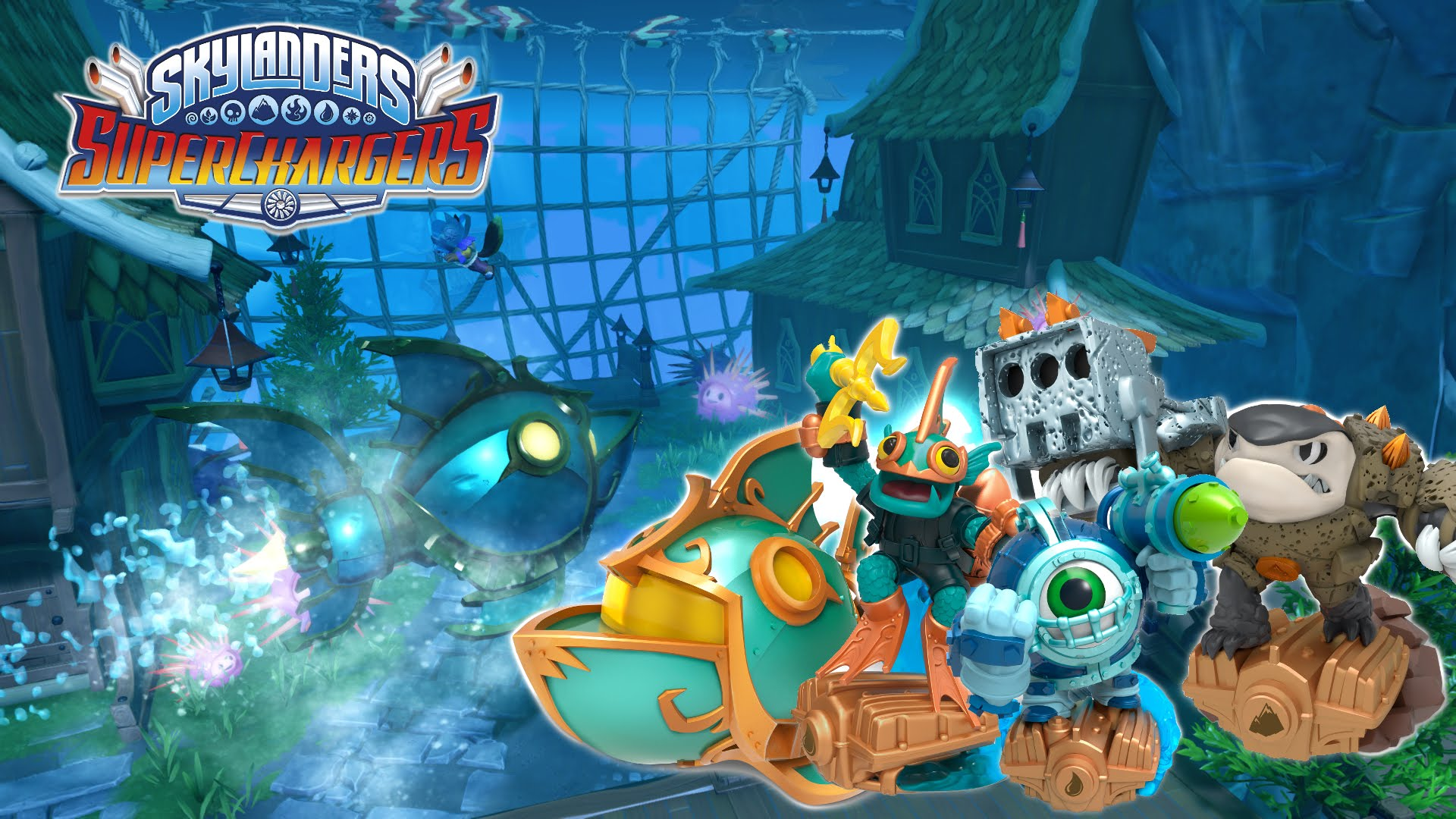 Skylander Superchargers – Cloud Breather Dragon with Terrafin and Gill Grunt