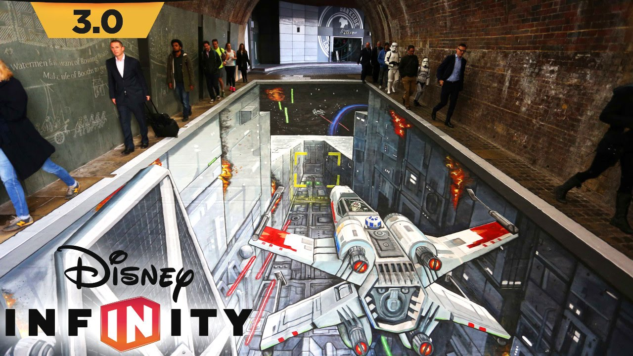 Disney Infintiy 3.0 Recreated in Chalk – Star Wars Street Art