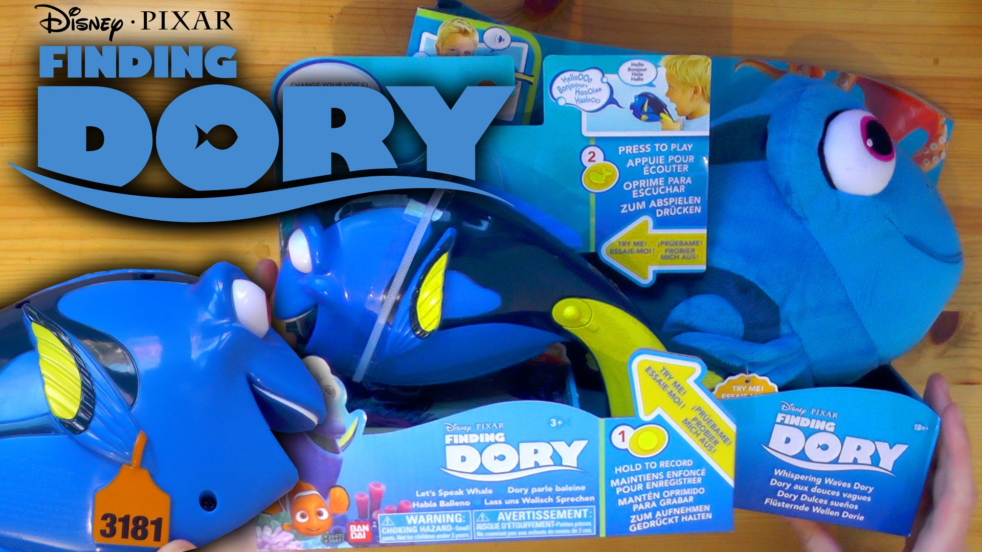 Finding Dory Toys – Whispering Waves Dory & Let's Speak Whale Dory (Disney / Bandai)