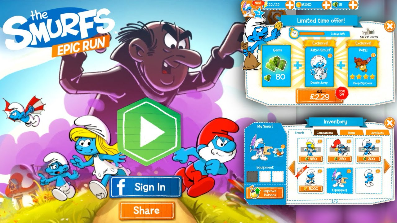 The Smurfs Epic Run – In App Purchases Coin vs Gem Value