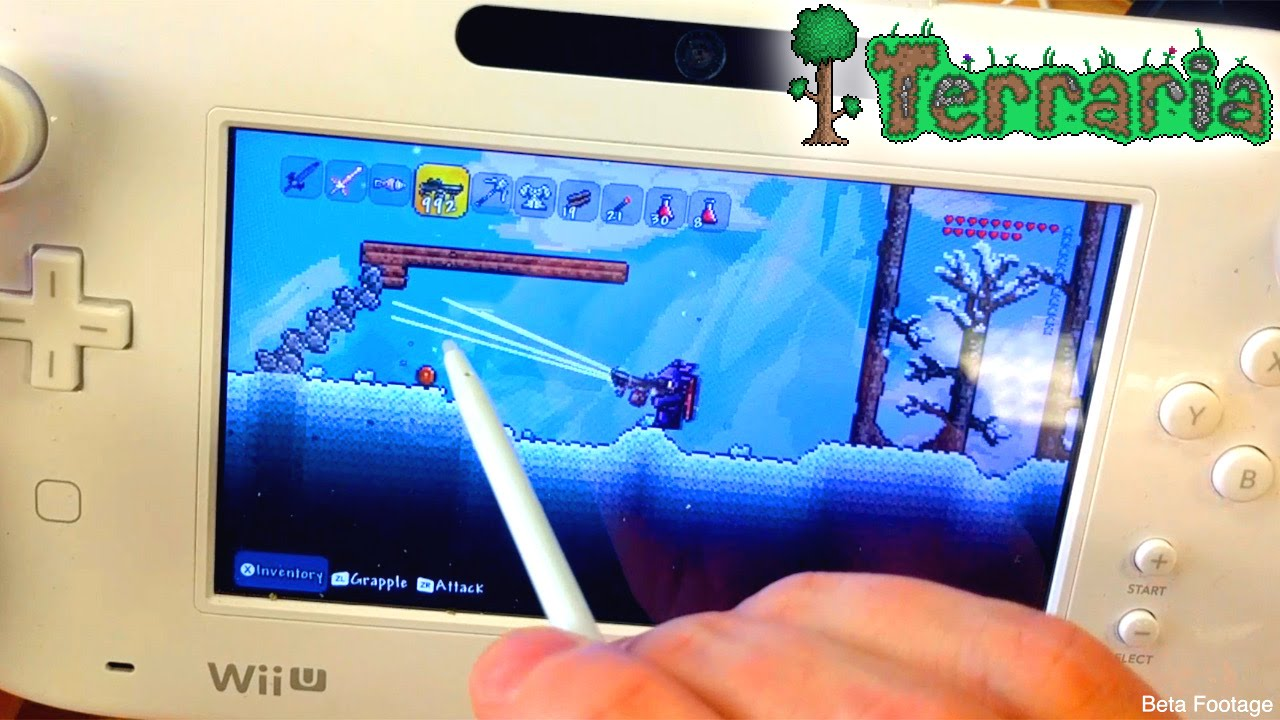 Let's Play Terraria Wii U – Game-Pad Mode, Building, Map and Inventory
